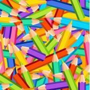 Tecido de Revestimento cartonagem patchwork Digital - Estampado nº360 estampa #360 Lápis Colorido