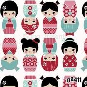 Tecido de Revestimento cartonagem patchwork - Estampado Bege nº411 nº411- Bonequinha Japonesa