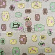 Tecido de Revestimento cartonagem patchwork - Estampado Bege nº434 Costura