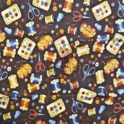 Tecido de Revestimento cartonagem patchwork - Estampado Marrom nº230 Fundo estampa Costura