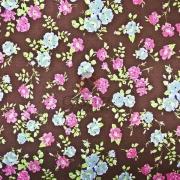 Tecido de Revestimento cartonagem patchwork - Estampado Marrom nº418 Fundo poá com floral