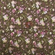 Tecido de Revestimento cartonagem patchwork - Estampado Marrom nº440 Flores Rosa e Salmão