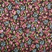 Tecido de Revestimento cartonagem patchwork - Estampado Marrom nº443 Floral Vermelho