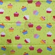 Tecido de Revestimento cartonagem patchwork - Estampado Verde nº448 Cupcakes Coloridos
