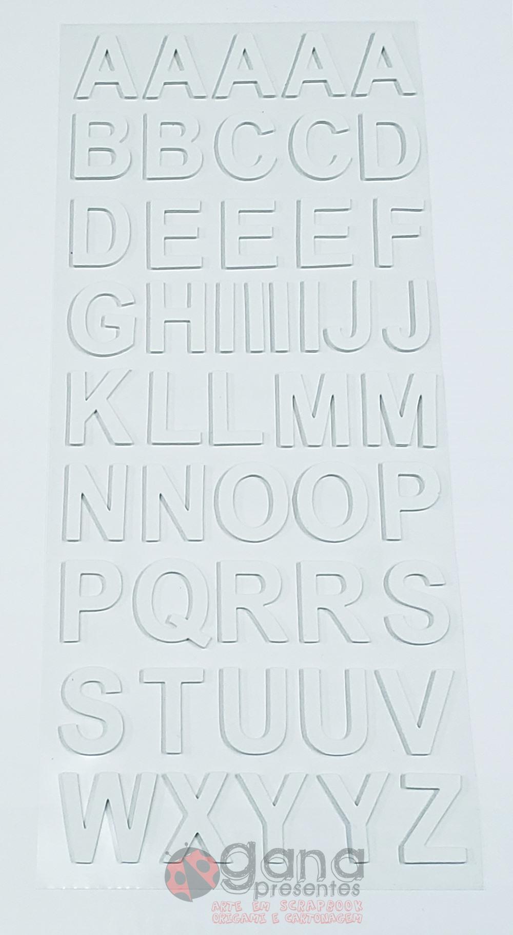 Adesivo Alfabeto em EVA 3cm várias cores cor Branco - EVA018-3
