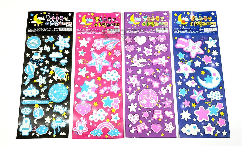 Adesivo Sticker Fluorescente Espaço - 1 cartela AZUL