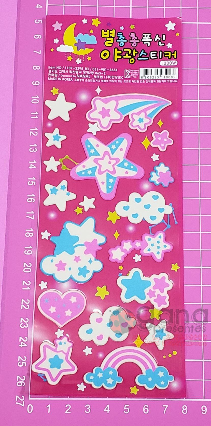 Adesivo Sticker Fluorescente Espaço - 1 cartela PRETO