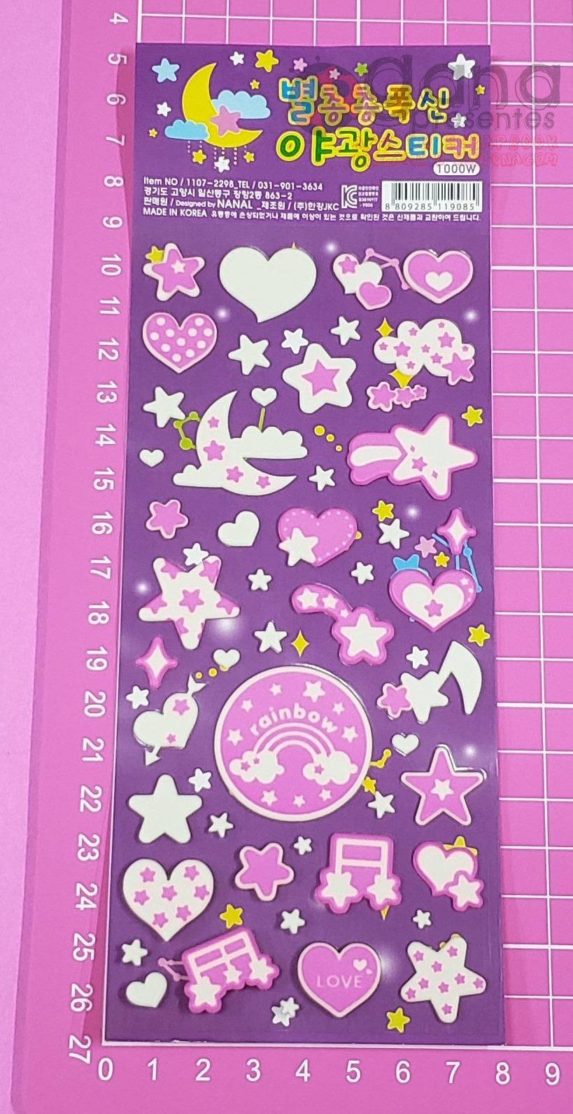 Adesivo Sticker Fluorescente Espaço - 4 cartelas SORTIDAS