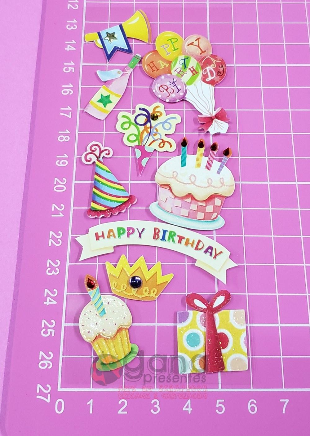 Adesivos fofinhos Gana Presentes Happy Birthday II - 2