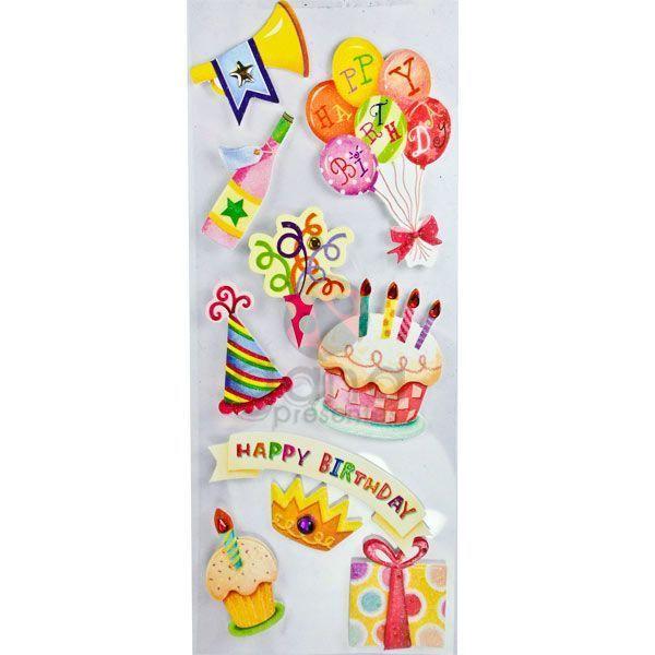 Adesivos fofinhos Happy Birthday II 10 Cartelas