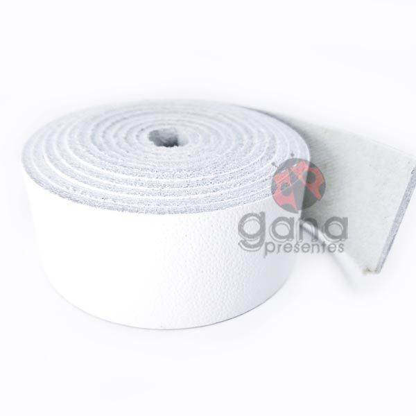 Alça de couro para cartonagem Branca simples - 30cm
