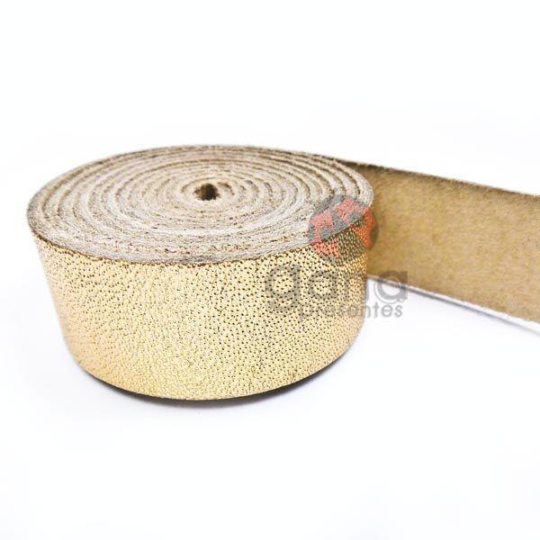 Alça de couro simples Dourada para cartonagem 1,0 metro Dourado