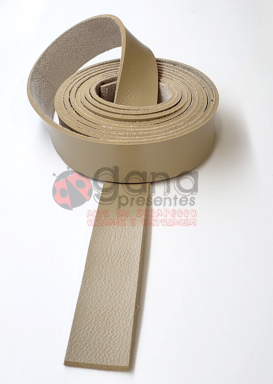 Alça de couro sintético Bege 2,5cm para cartonagem e forração francesa - 1 metro