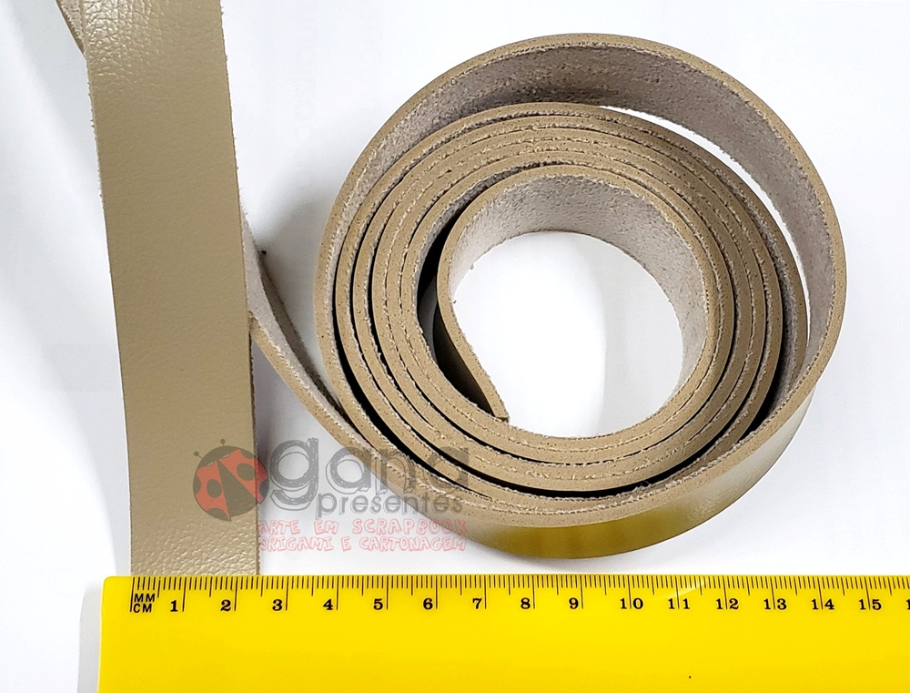 Alça de couro sintético Bege 2,5cm para cartonagem e forração francesa - 6 metros (3 unidades 2m)