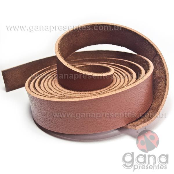 Alça de couro sintético Caramelo para cartonagem e forração francesa - 1 METRO