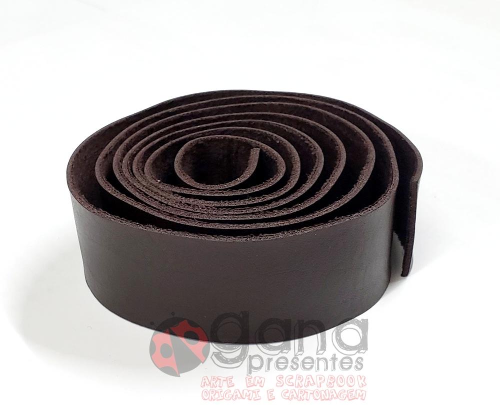 Alça de couro Sintético similar Pelica 1 metro para cartonagem Marrom Terra 1metro