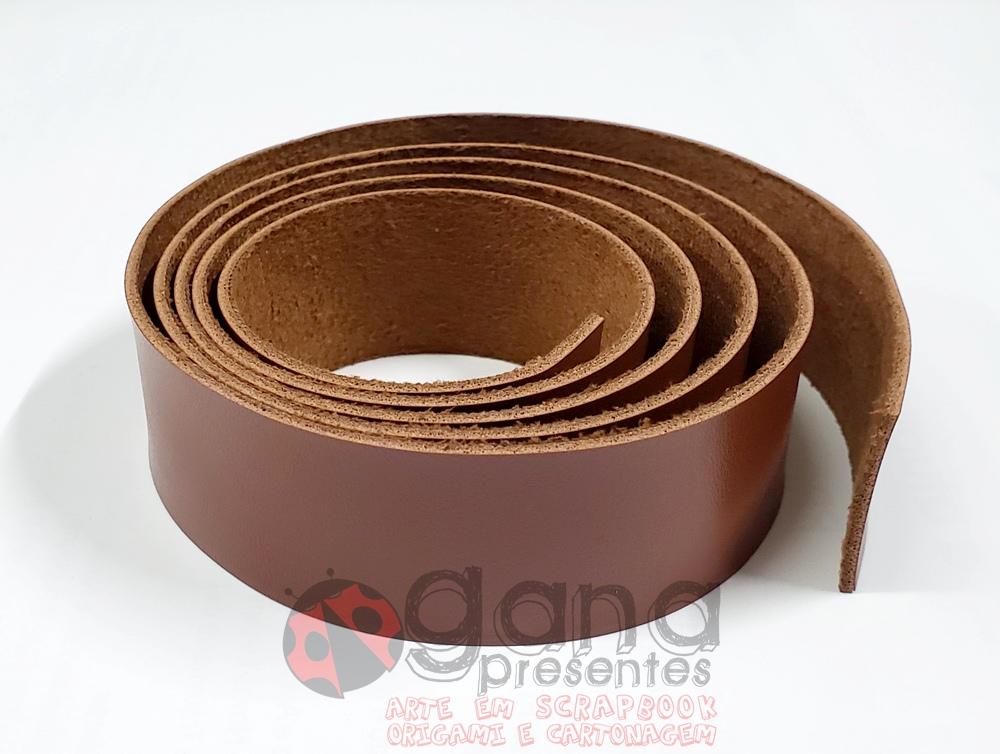 Alça de couro Sintético similar Pelica 1 metro para cartonagem Marrom Texturizado 1metro