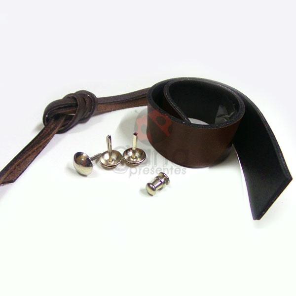 Alças de couro para maletas e caixas - forração francesa Marrom P/M caixa ballet