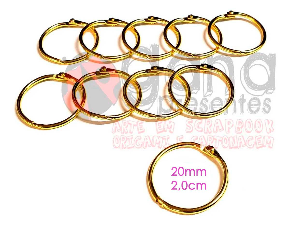 Argola Articulada 20mm Dourada Para Álbuns E Blocos 20 Argolas Articuladas