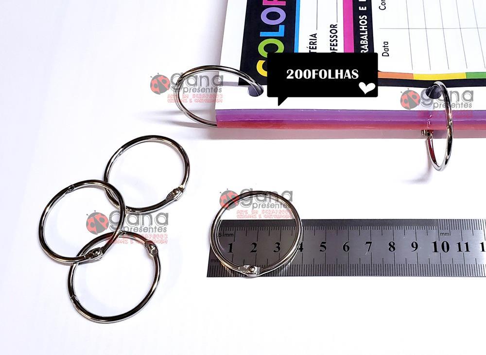Argola Articulada 35mm para Álbuns, cadernos, bloquinhos e Scrapbook 200 Argolas