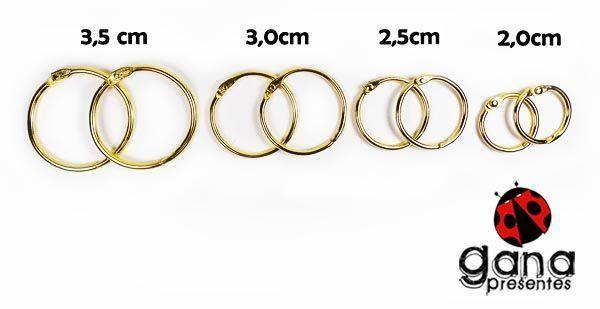 Argola Articulada Dourada Para Álbuns E Blocos Metais - 20mm 2 unidades