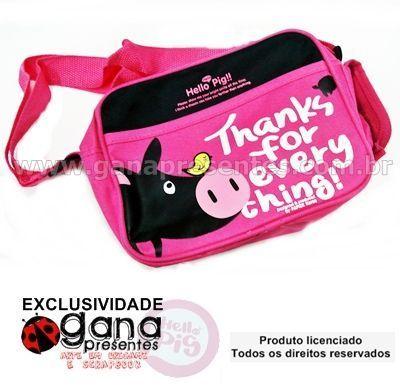 Bolsa infantil hello pig 210NW-P004 - rosa com burrinho