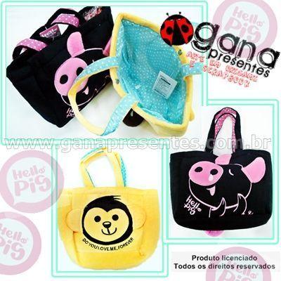 Bolsa plush hello pig 210NW-P005 - amarela com macaco