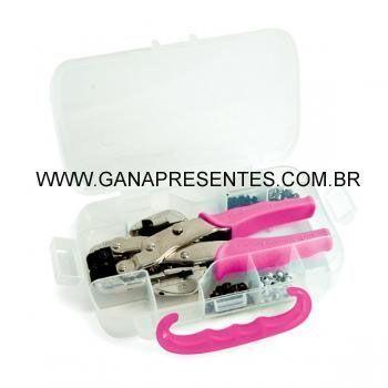 Crop-A-Dile Kit Completo Pink - Estojo +100 ilhóses COMPLETO- + 100