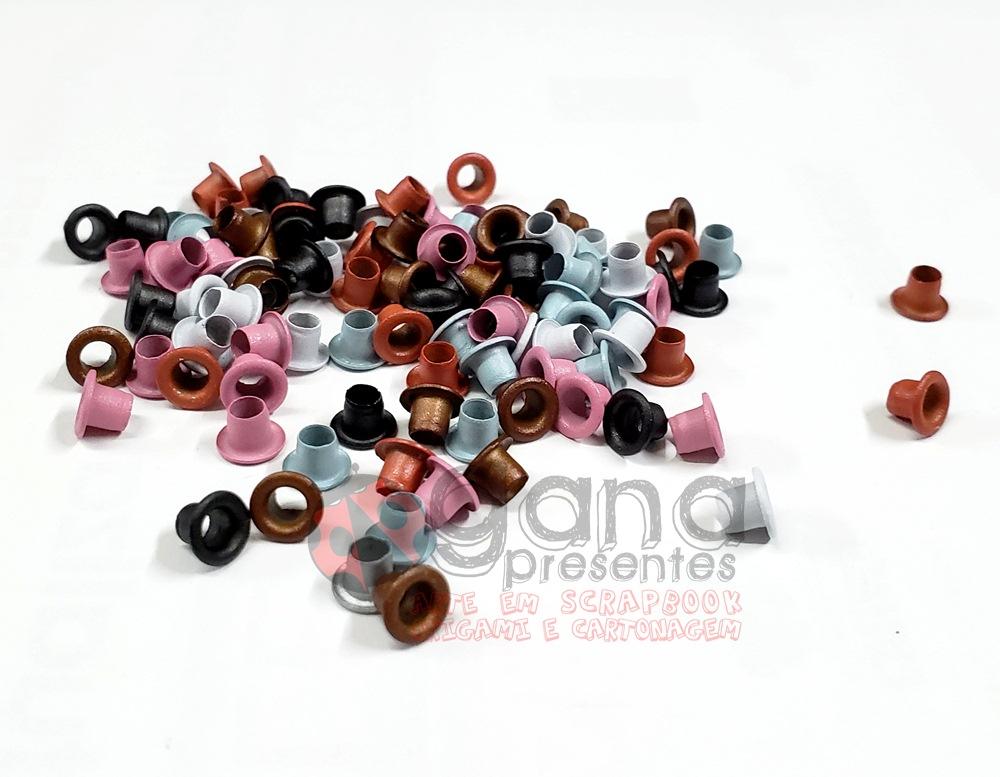Ilhós 5mm para aplicação em artesanato Coloridas BD71 C/100pçs