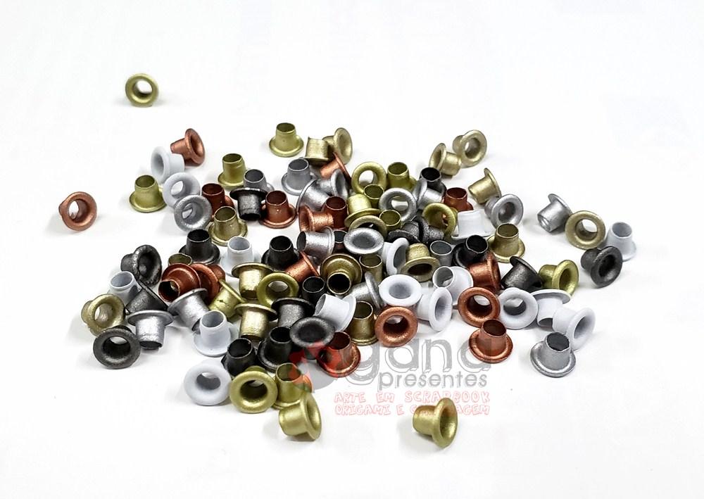 Ilhós 5mm para aplicação em artesanato cores Metálica METALICAS BD73 C/100pçs