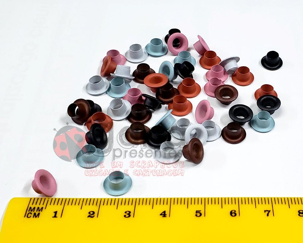 Ilhós 8mm para aplicação em artesanato Coloridas BD72 C/50pçs