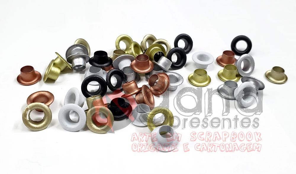 Ilhós 8mm para aplicação em artesanato cores Metálica METALICAS BD74 C/50pçs