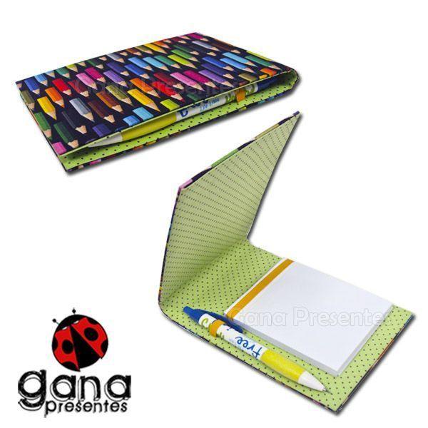 Kit de cartonagem - Porta Bloco com Lapiseira 3 unidades Gana Presentes 910493
