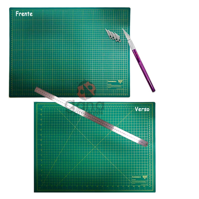 Kit de Corte Base 60x45 Estilete Bisturi cabo colorido e régua 60cm