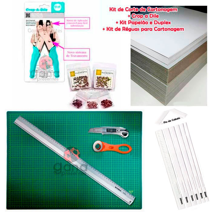 Kit de Corte Cartonagem 60x45+Réguas+Papelão+Crop+ilhoses