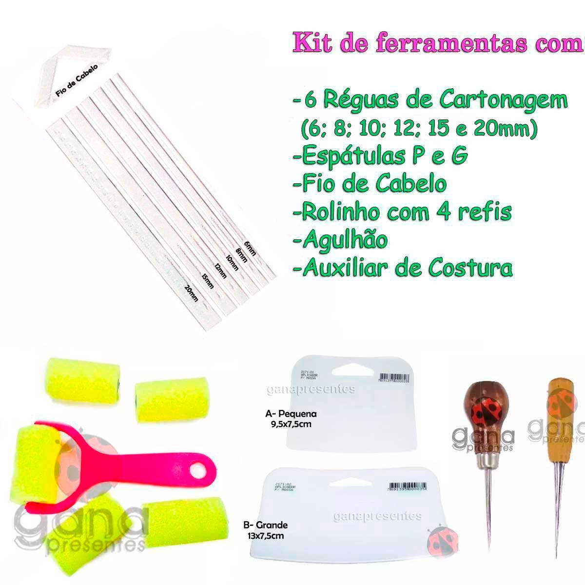 Kit espátulas + réguas de cartonagem fio cabelo+rolinho+kit agulhão