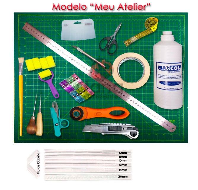 Kit iniciante para cartonagem Modelo Meu Atelier de - 901057 ferramentas + 30 placas 1,9mm+30duplex