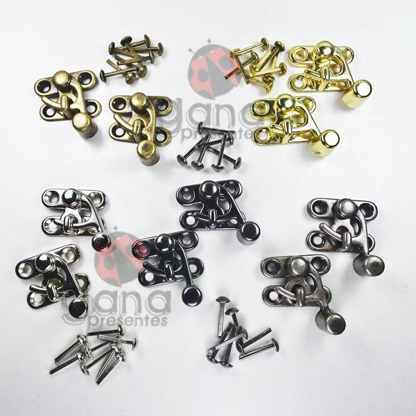 Metais - Fecho de Metal Anzol para uso em Cartonagem com 2 UNIDADES PRATA 101141