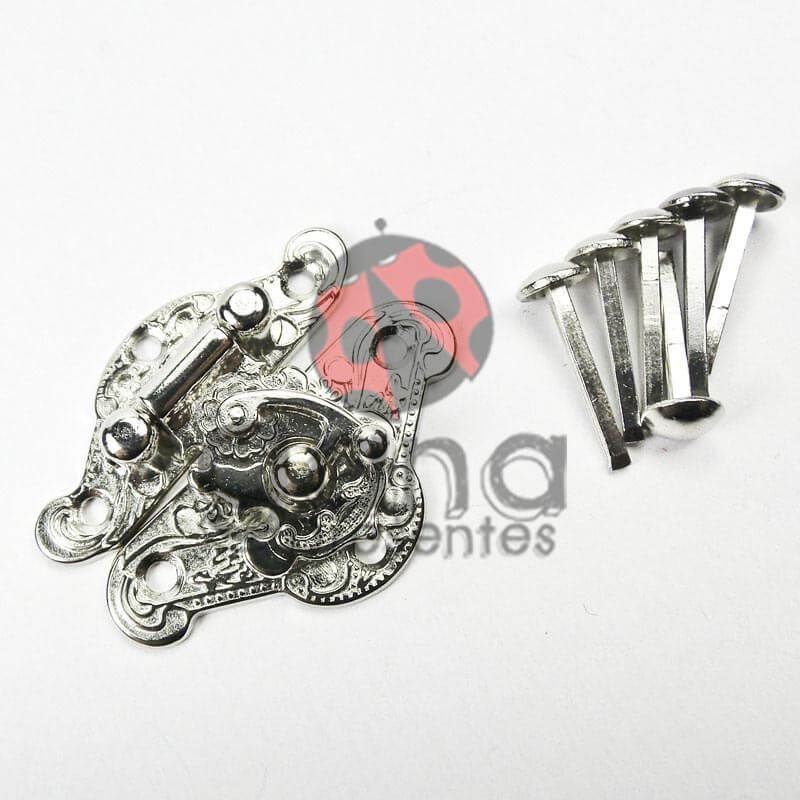 Metais - Fecho de metal Detalhado Prata G 102401