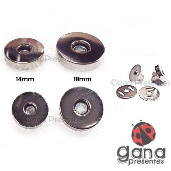 Metais - Fecho magnético ALTO PRATA imã para cartonagem com 4 unidades 14 mm pçs 101400
