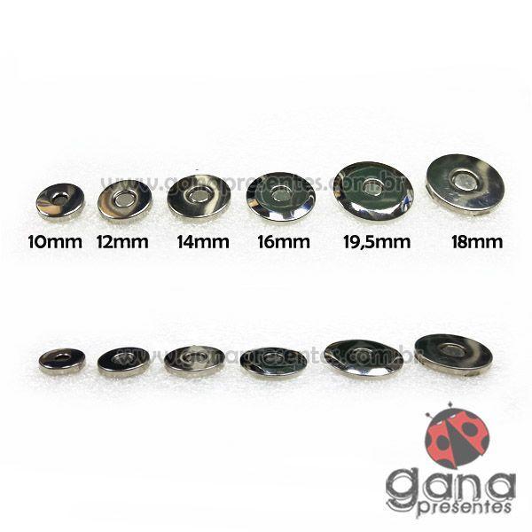 Metais - Fecho Magnético BAIXO PRATA imã para cartonagem com 4 unidades 16mm 102199