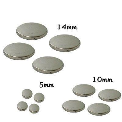 Metais - Fecho magnético Imã Pastilha para peças de cartonagem chato 14mm diâm. com 4 pastilhas -cartonagem