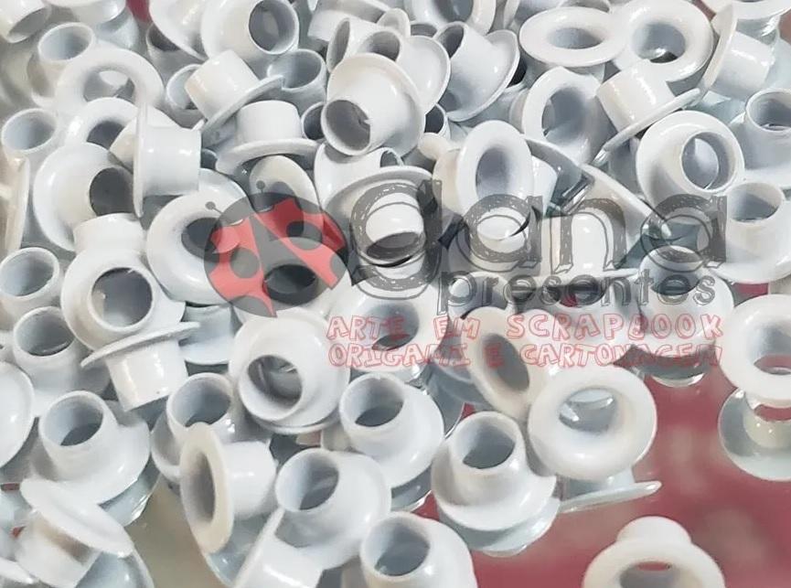 Metais - Ilhós de Alumínio nº54 Branco 4,7mm ou 3/16 para scrap e cartonagem 1000 -4,7mm Diâmetro Interno