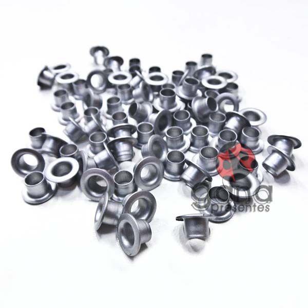 Metais - Ilhós de Alumínio nº54 Prata Fosco 4,7mm ou 3/16 para scrap e cartonagem 1000
