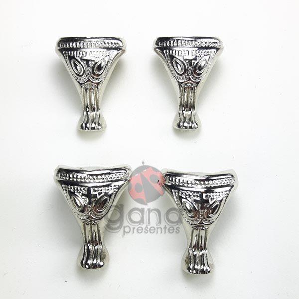 Metais - Pezinho de metal Detalhado Prata G 48 unidades