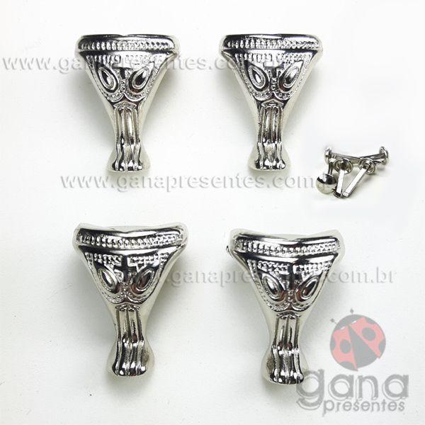 Metais - Pezinho de metal Detalhado Prata G 4 unidades