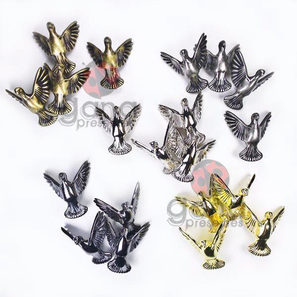Metais - Pezinho Pássaro para cartonagem 48 unid Dourado