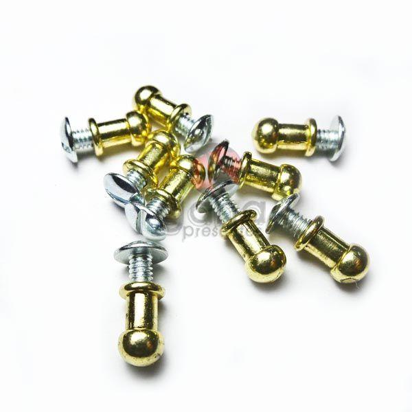 Metais - Puxador de metal carrapeta 8mm Dourado para cartonagem com 50 unid