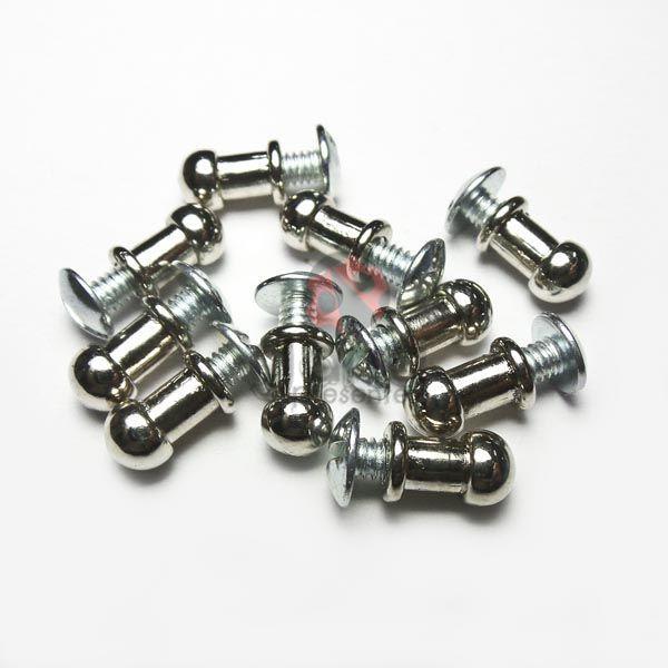 Metais - Puxador de metal carrapeta 8mm Prata para cartonagem com 50 unid