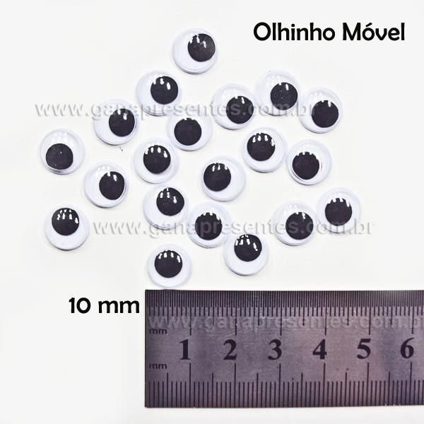 Olho Móvel para Artesanato 10mm com 20 unidades